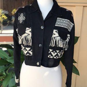 Contempo Casuals Boho Crop Jacket Vintage